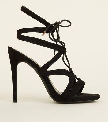 Black Suedette Ghillie Lace Up Stiletto Heels