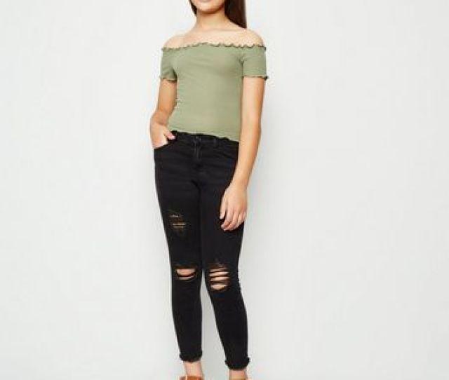 Girls Black Ribbed High Waist Skinny Jeans