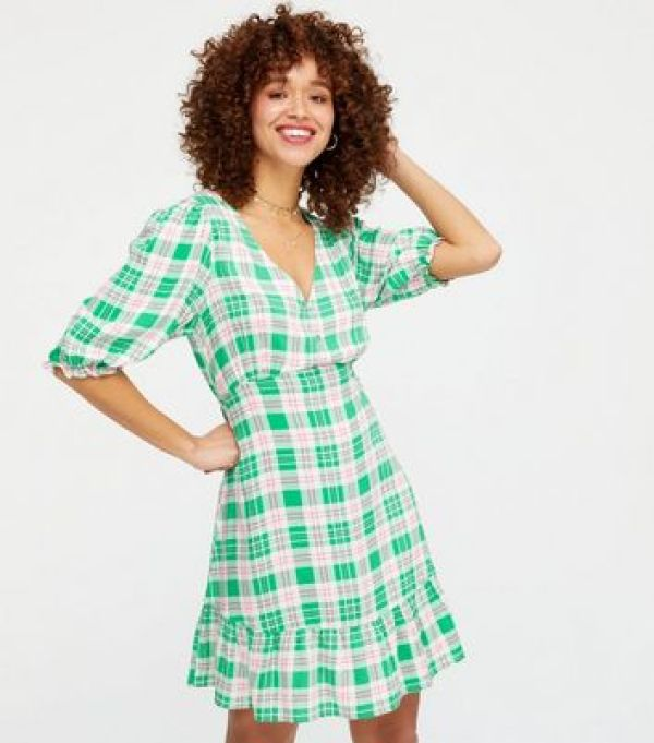 Green Check Button Front Tiered Mini Dress New Look