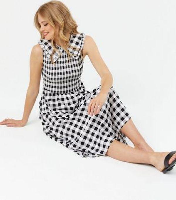 Black Gingham Crepe Shirred Frill Collar Midi Dress New Look