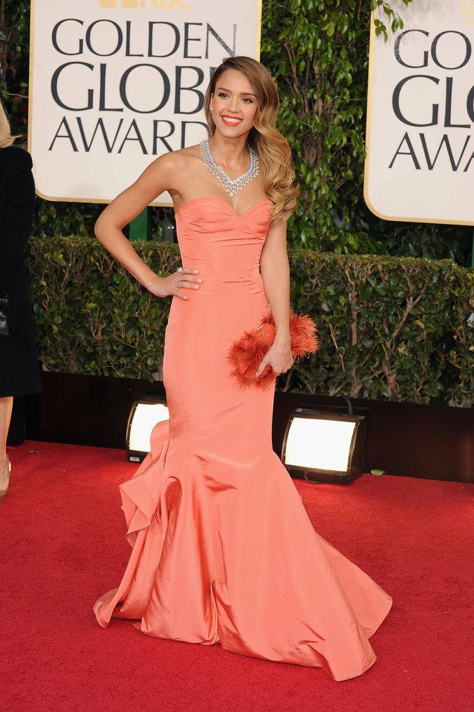 Jessica Alba in Oscar de la Renta at the 2013 Golden Globe Awards