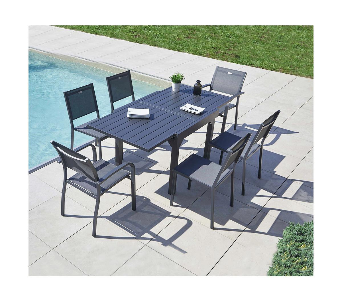 table de jardin extensible honfleur aluminium ozalide