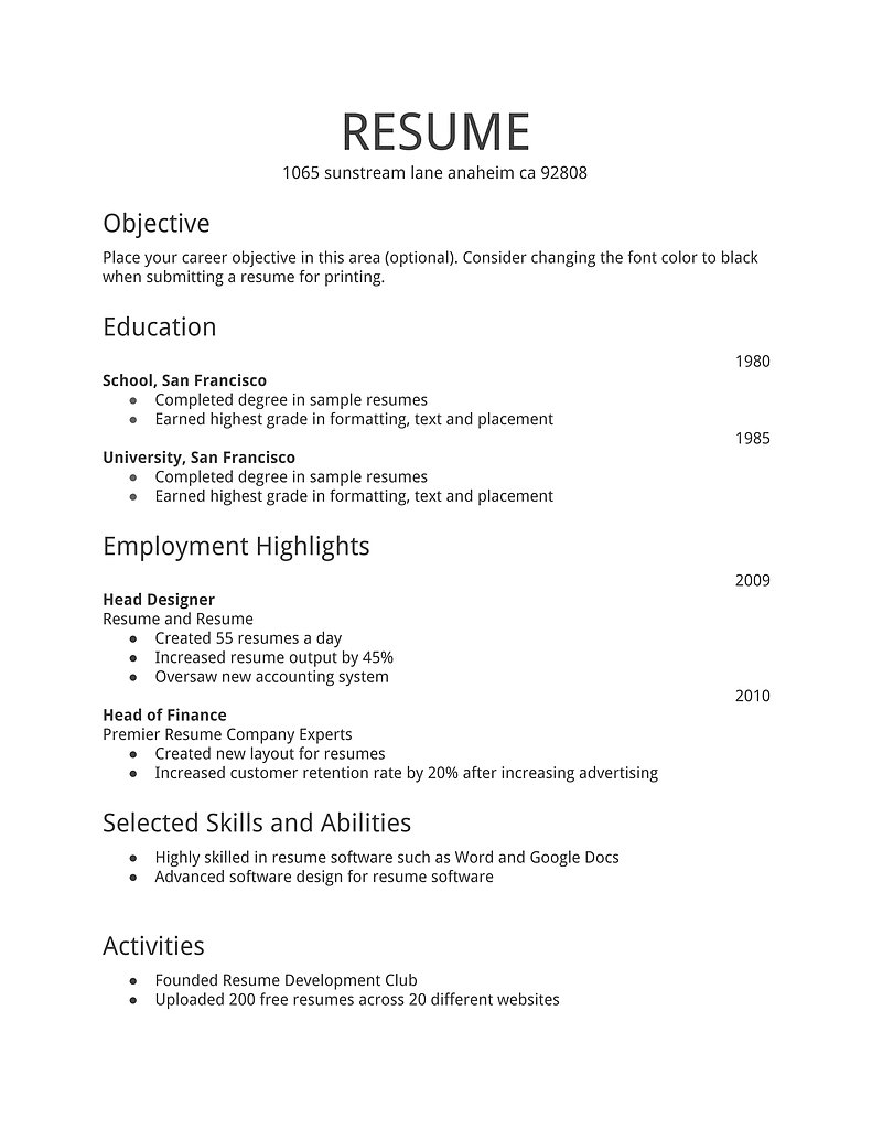 Resume Format Doc File Download Templates Word Document