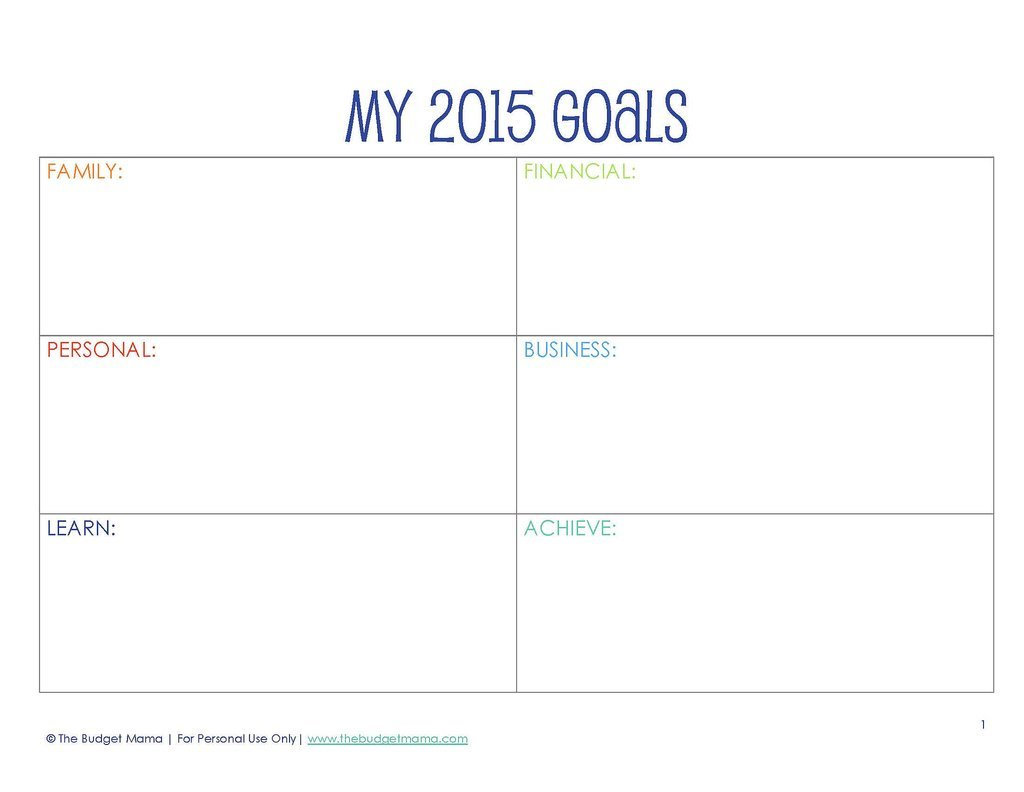New Year S Resolution Printables