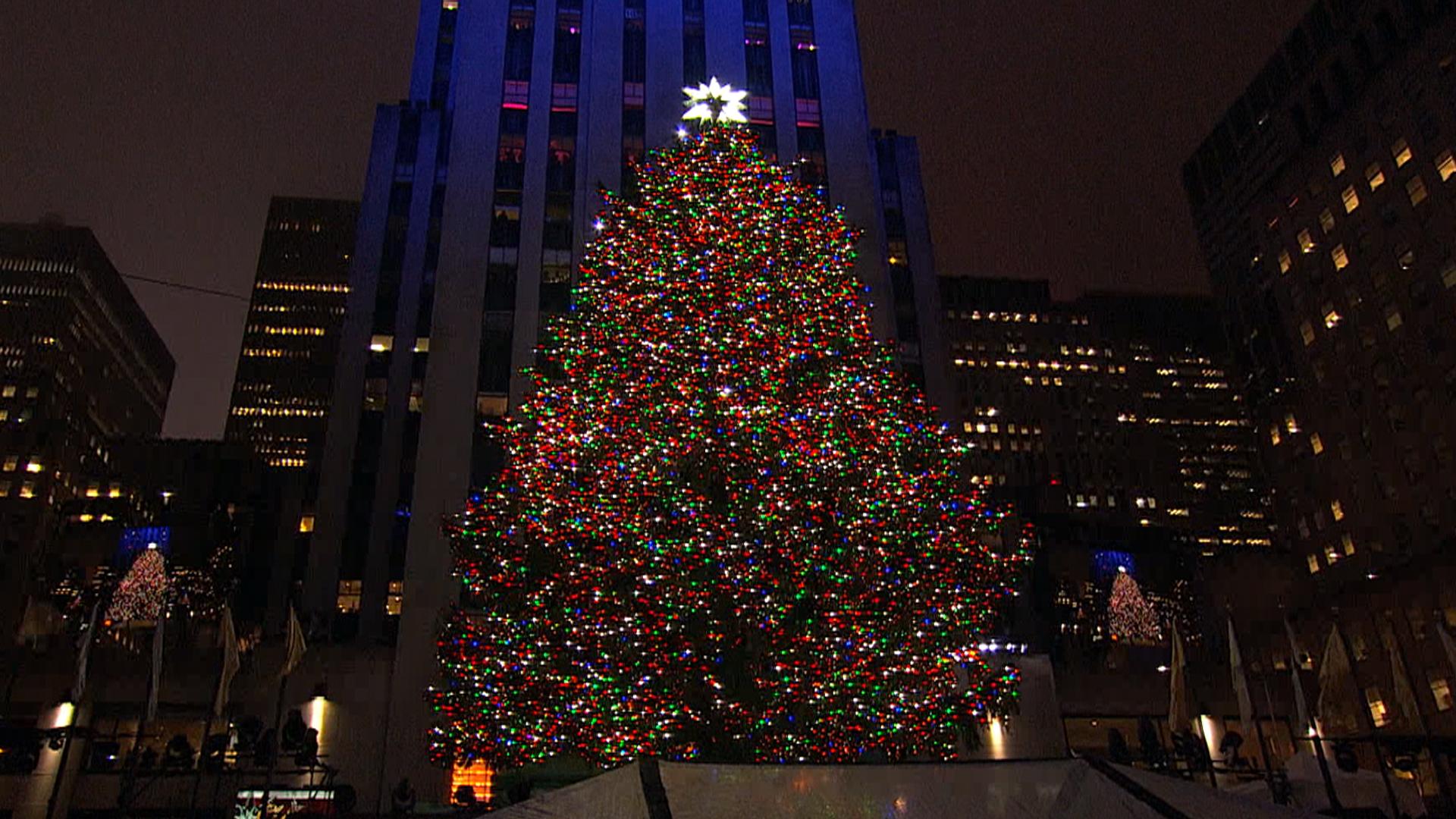 Rockefeller Center Christmas Tree Lit In Star Studded