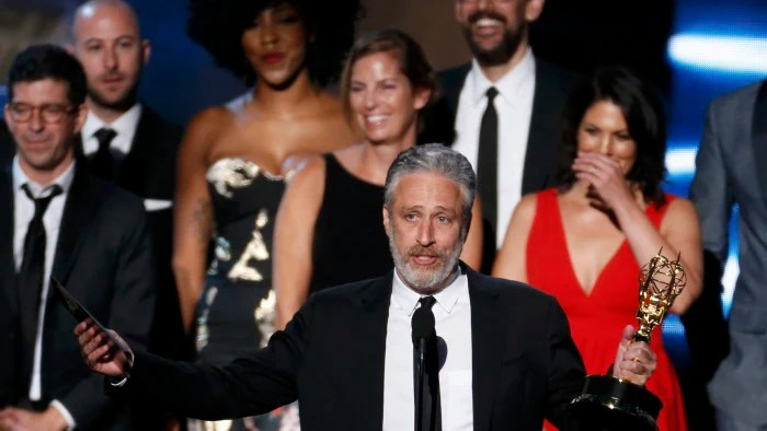 """Image: Jon Stewart accepts the award for Outstanding Variety Talk Series for Comedy Central's """"The Daily Show with Jon Stewart"""" at the 67th Primetime Emmy Awards in Los Angeles"""