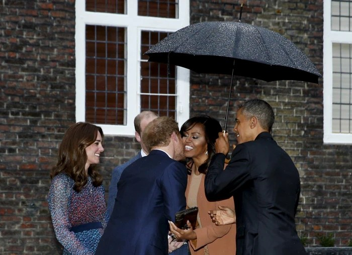 U.S. President Barack Obama and first lady Michelle Obama are greeted by Prince William, his wife Catherine, Duchess of Cambridge, and Prince Harry, upon arrival for dinner at Kensington Palace in London, Britain