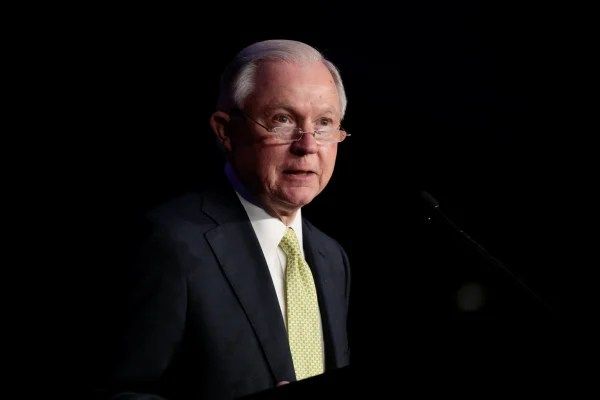 Image: U.S. Attorney General Jeff Sessions addresses the National Law Enforcement Conference on Human Exploitation in Atlanta