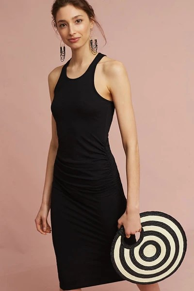 knit racer back black dress Anthropologie