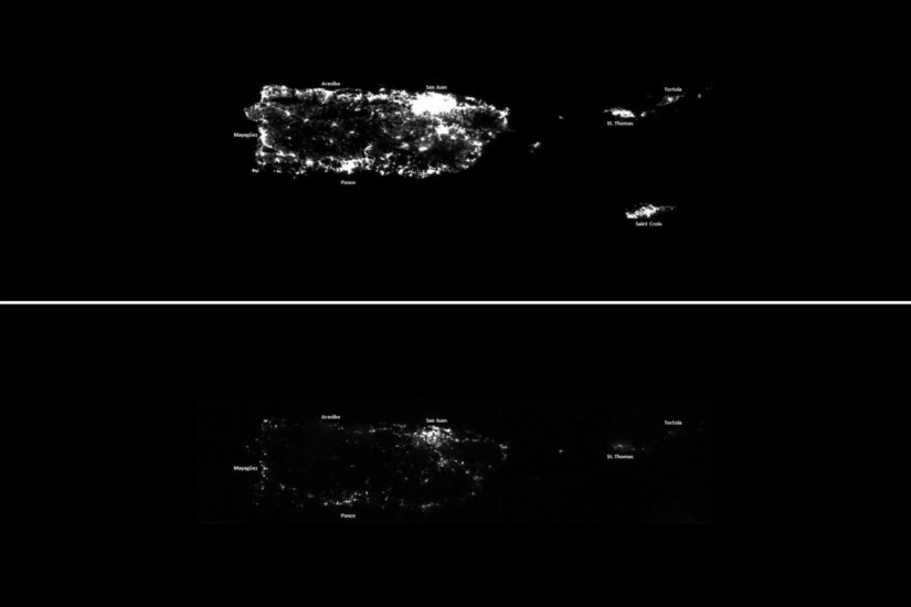 Image: A combination of NOAA Satellite images taken at night shows Puerto Rico before and after Hurricane Maria