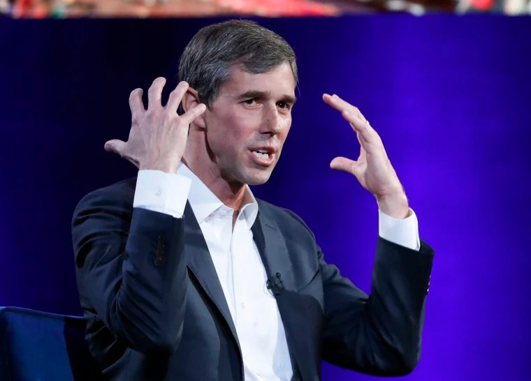 Image: Beto O'Rourke gestures during an event in New York on Feb. 5, 2019.