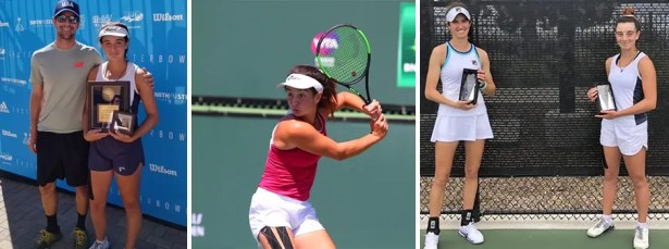 USTA National Championships – Easter Bowl – Indian Wells, CA. Picture on the left: Nick Fustar and Vivian Ovrootsky. Middle picture L-R: Vivian Ovrootsky. Picture on the right – Irvine Grade 4 ITF, Irvine, CA: India Houghton and Vivian Ovrootsky.