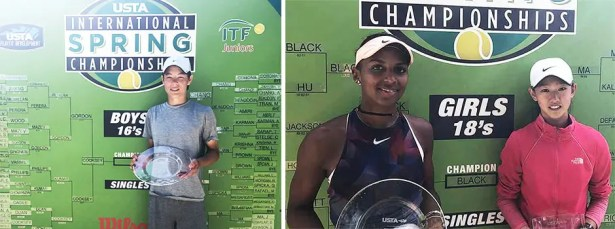 International Spring Championships – Carlson, CA.Picture on the left: Boys' 16 singles winner – Alexander Chang. Picture on the right: Girls' 18 winner and finalist – Tyra Black and Connie Ma
