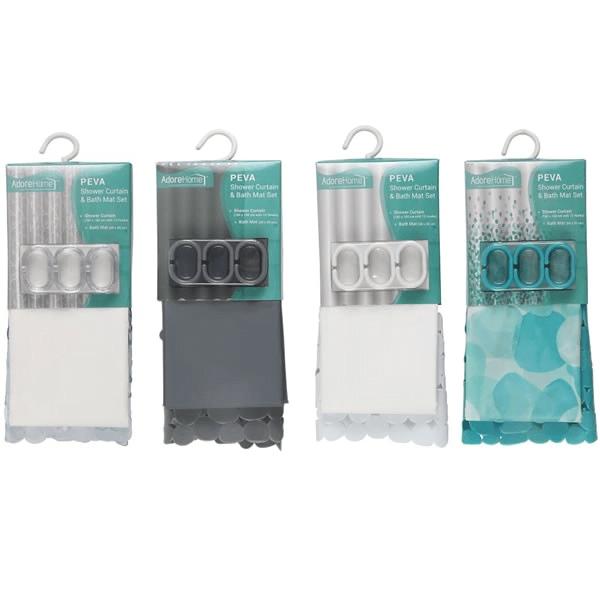 shower curtain set with pvc bath mat