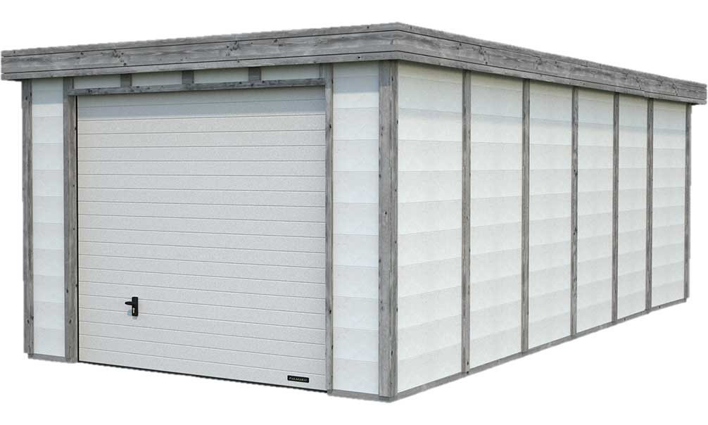 Garage Toit Plat Structure Bois Beton Elya 19 66m Interieur