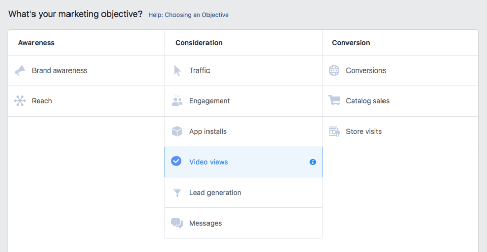 list of facebook marketing objectives