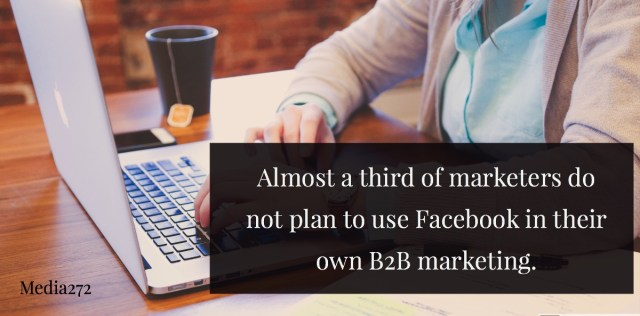 almost 1 in 3 marketers do not plan to use facebook in their marketing