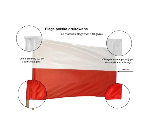 Flaga Polska o wymiarze 70x112 cm o gramaturze 110 gr/m2