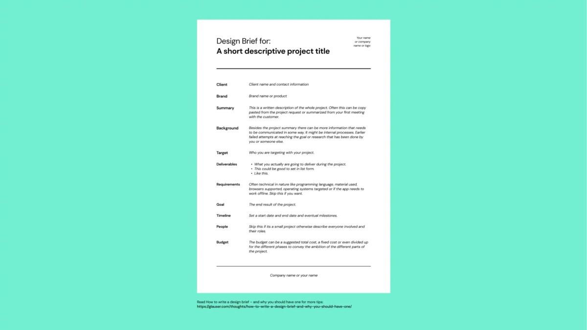 Glöm inte briefen – starta ditt nästa projekt med en brief