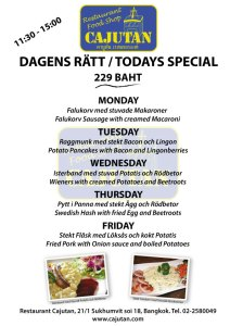 Today´s offer with Swedish cuisine at Cajutan in Bangkok