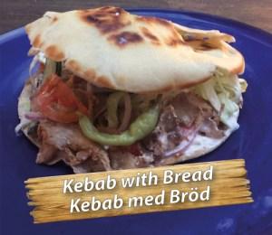 Swedish kebab with bread at Cajutan in Bangkok