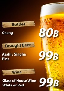 Happy Hour, promotion on beer at Cajutan in Bangkok