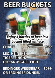 Beer bucket with Chang, Asahi, Leo, Heineken, Tiger, San miguel light, Erdinger at Cajutan in Bangkok
