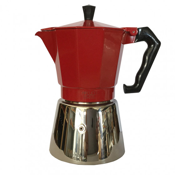 cafetiere italienne moka rouge 6 tasses induction