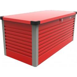 coffre de rangement en metal rouge 750l patio box 1 06m trimetals
