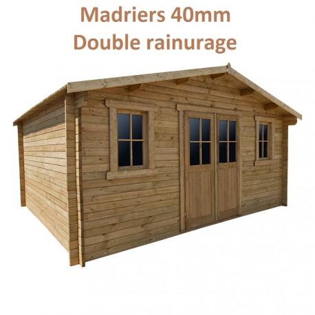 abri en bois massif 19 8m plus 40mm traite teinte marron gardy shelter
