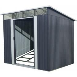 abri de jardin metal 5 64m skylight anthracite kit d ancrage x metal