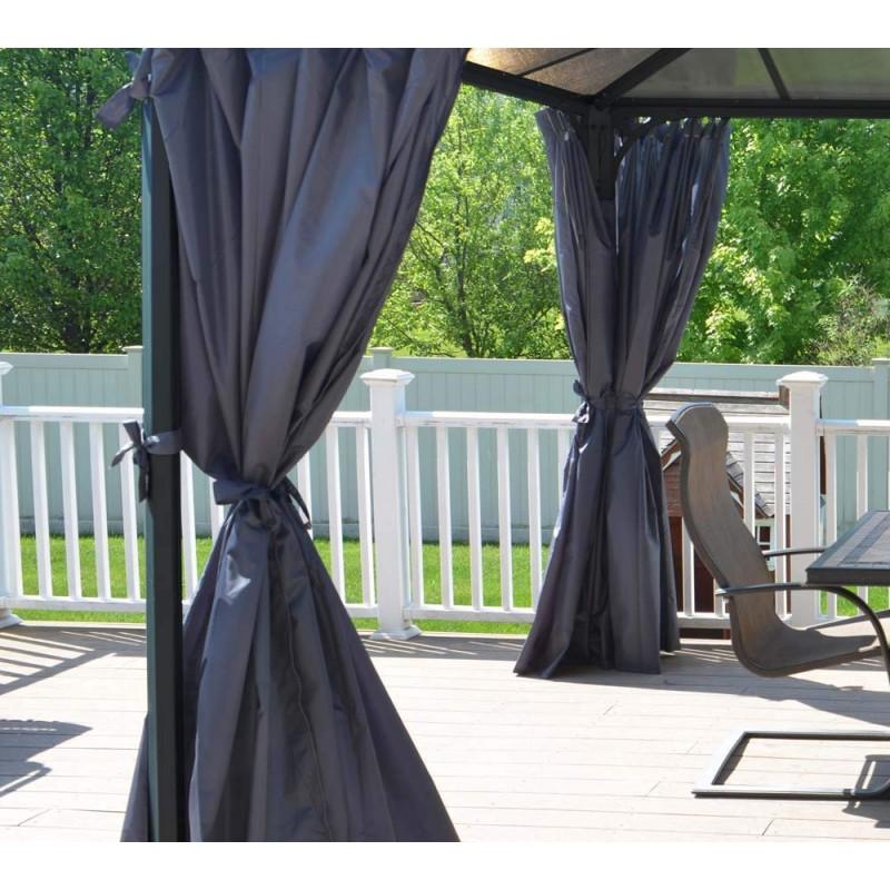 rideaux en polyester gris pour pergola