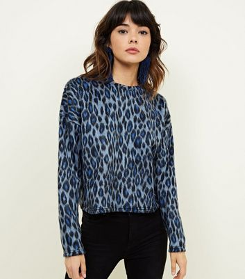 Blue Brushed Fine Knit Leopard Print Jumper