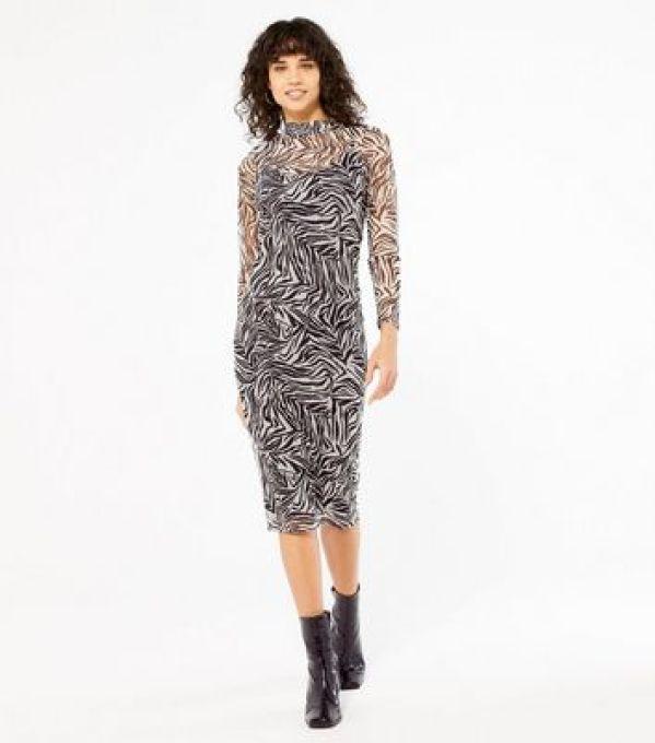 Black Zebra Print Mesh Midi Dress New Look