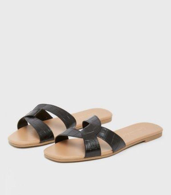 Black Faux Croc Twist Strap Sliders New Look
