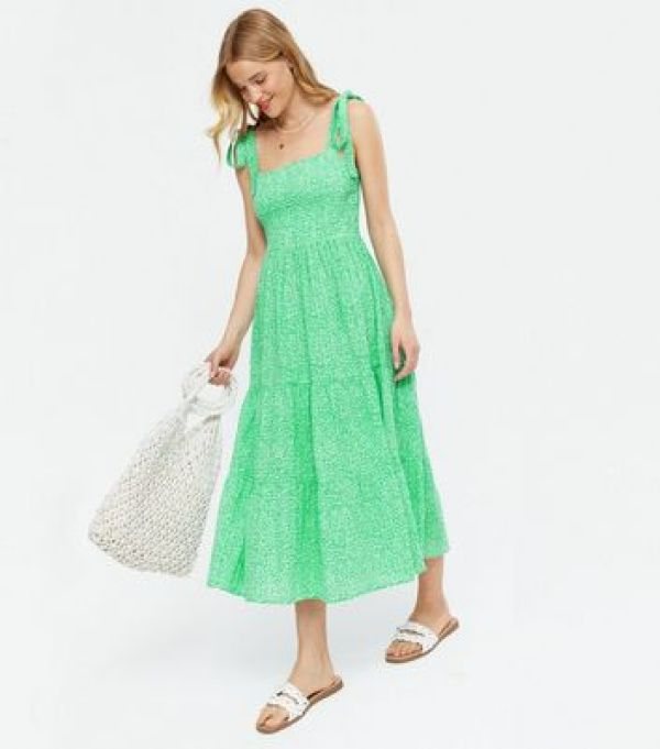 Green Ditsy Floral Tie Strap Tiered Midi Dress New Look