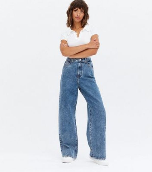 Blue Mid Wash High Waist Dad Jeans New Look