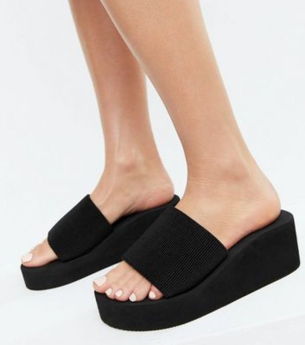 Truffle Collection Black Chunky Wedge Mules new look