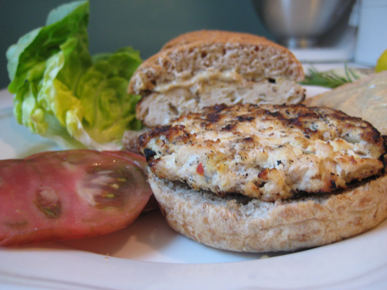 Herb Chicken-Tofu Burgers