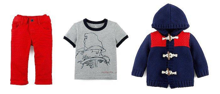 Red Jean ($25), Paddington Graphic Tee ($17), Colorblock Duffel Coat ($40)<br /><br /><br /><br /><br /><br /><br />