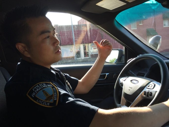 Officer Tu Tran on patrol in Lincoln, Nebraska.