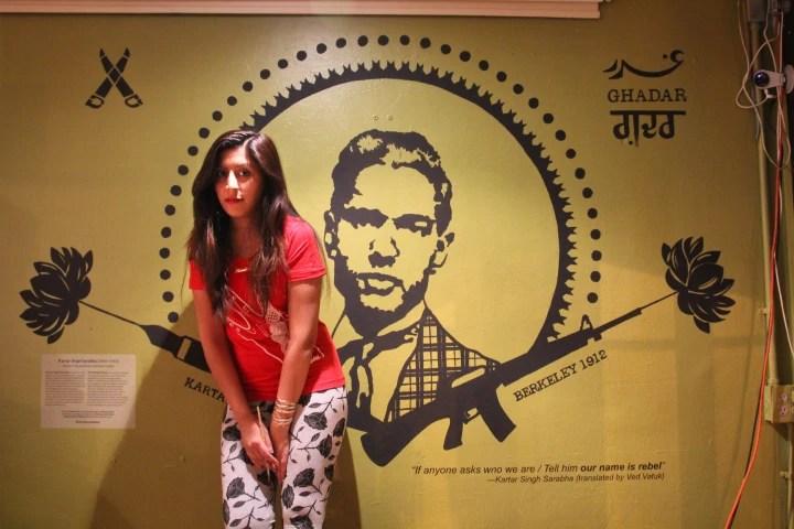 """Mural of Kartar Singh Sarabha entitled, """"Our Name is Rebel,"""" by Nisha Sembi."""