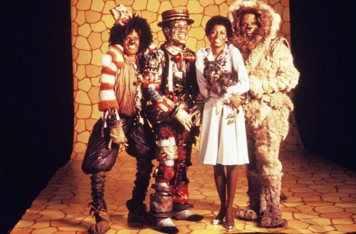 THE WIZ, from left: Michael Jackson, Nipsey Russell, Diana Ross, Ted Ross, 1978