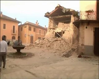 Image: A collapsed building in Norcia pictured on Italian television channel Sky Tg24.