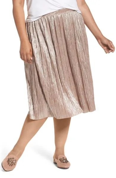 Crushed Foil Pleated Skirt Vince Camuto Nordstrom sale