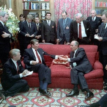 Image: President Ronald Reagan, seated left, meets with Soviet General Secretary Mikhail Gorbachev at Maison de Saussure during the Geneva Summit