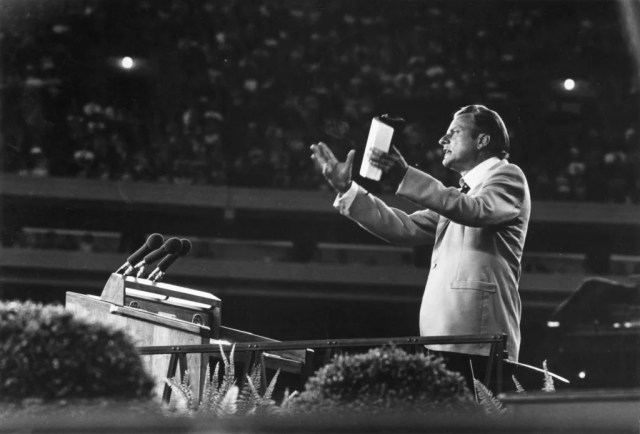 Image: Billy Graham addressing a crowd