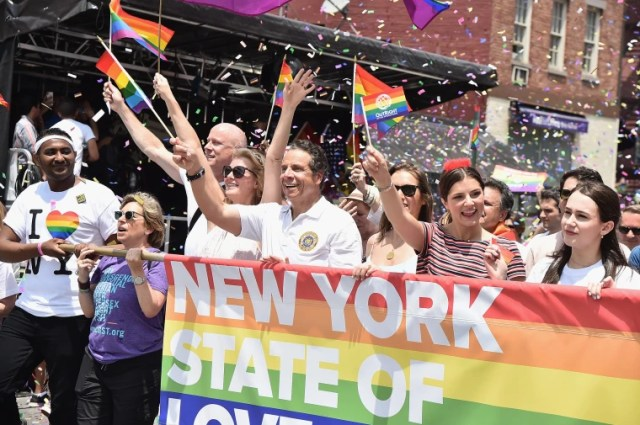 Image: New York State Governor Andrew Cuomo at the Pride parade in New York