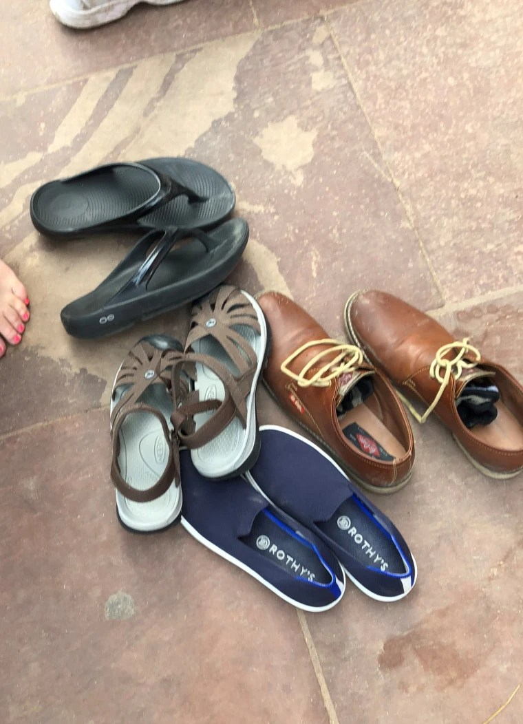 We paid some kids 20 rupees to watch our shoes while we toured the grounds of the famed Fatepuhr Sikri in Agra. I wasn't sure if my $125 Rothy's would be there when we returned, but they were!