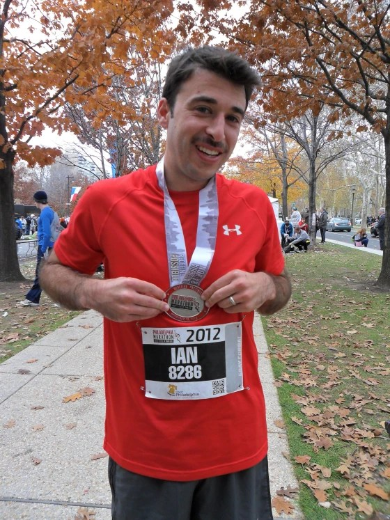 TODAY.com's Ian Sager after completing the Philadelphia Marathon in 2012.